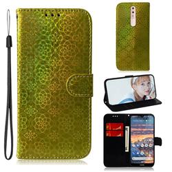 Laser Circle Shining Leather Wallet Phone Case for Nokia 4.2 - Golden