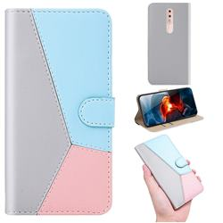 Tricolour Stitching Wallet Flip Cover for Nokia 4.2 - Gray