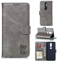 Embossing Happy Cat Leather Wallet Case for Nokia 4.2 - Gray