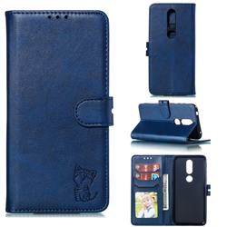 Embossing Happy Cat Leather Wallet Case for Nokia 4.2 - Blue