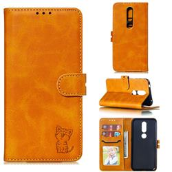 Embossing Happy Cat Leather Wallet Case for Nokia 4.2 - Yellow