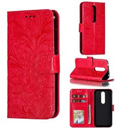 Intricate Embossing Lace Jasmine Flower Leather Wallet Case for Nokia 4.2 - Red