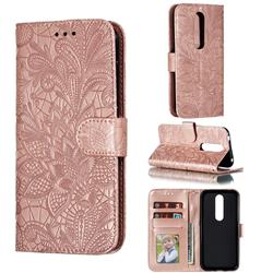Intricate Embossing Lace Jasmine Flower Leather Wallet Case for Nokia 4.2 - Rose Gold