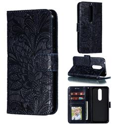 Intricate Embossing Lace Jasmine Flower Leather Wallet Case for Nokia 4.2 - Dark Blue
