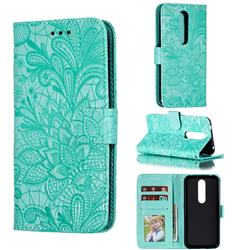 Intricate Embossing Lace Jasmine Flower Leather Wallet Case for Nokia 4.2 - Green