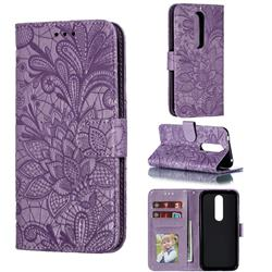 Intricate Embossing Lace Jasmine Flower Leather Wallet Case for Nokia 4.2 - Purple