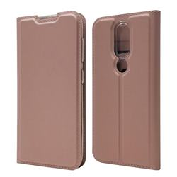 Ultra Slim Card Magnetic Automatic Suction Leather Wallet Case for Nokia 4.2 - Rose Gold
