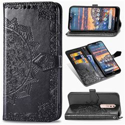 Embossing Imprint Mandala Flower Leather Wallet Case for Nokia 4.2 - Black