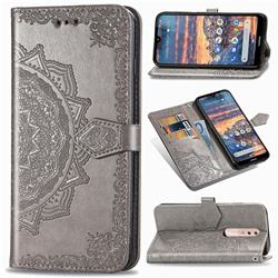 Embossing Imprint Mandala Flower Leather Wallet Case for Nokia 4.2 - Gray