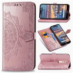 Embossing Imprint Mandala Flower Leather Wallet Case for Nokia 4.2 - Rose Gold