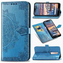 Embossing Imprint Mandala Flower Leather Wallet Case for Nokia 4.2 - Blue