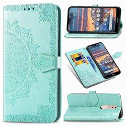 Embossing Imprint Mandala Flower Leather Wallet Case for Nokia 4.2 - Green