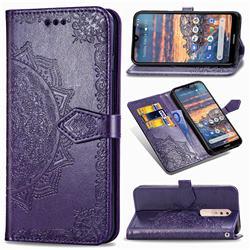 Embossing Imprint Mandala Flower Leather Wallet Case for Nokia 4.2 - Purple
