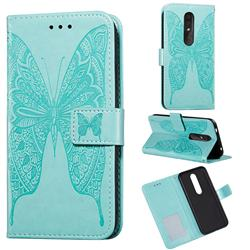Intricate Embossing Vivid Butterfly Leather Wallet Case for Nokia 4.2 - Green