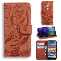 Intricate Embossing Tiger Face Leather Wallet Case for Nokia 4.2 - Brown