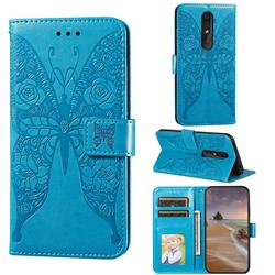 Intricate Embossing Rose Flower Butterfly Leather Wallet Case for Nokia 4.2 - Blue