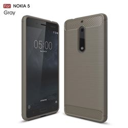 Luxury Carbon Fiber Brushed Wire Drawing Silicone TPU Back Cover for Nokia 5 Nokia5 (Gray)