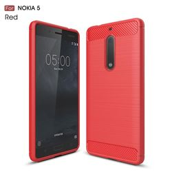Luxury Carbon Fiber Brushed Wire Drawing Silicone TPU Back Cover for Nokia 5 Nokia5 (Red)