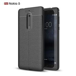 Luxury Auto Focus Litchi Texture Silicone TPU Back Cover for Nokia 5 Nokia5 - Black