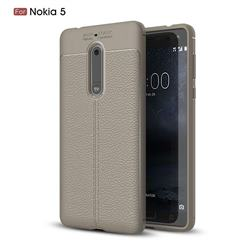 Luxury Auto Focus Litchi Texture Silicone TPU Back Cover for Nokia 5 Nokia5 - Gray