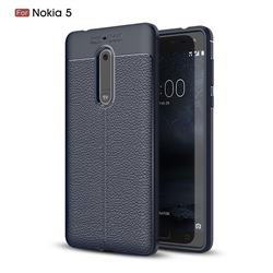 Luxury Auto Focus Litchi Texture Silicone TPU Back Cover for Nokia 5 Nokia5 - Dark Blue