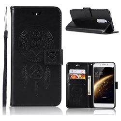 Intricate Embossing Owl Campanula Leather Wallet Case for Nokia 5 Nokia5 - Black