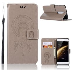 Intricate Embossing Owl Campanula Leather Wallet Case for Nokia 5 Nokia5 - Grey