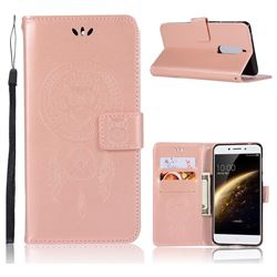 Intricate Embossing Owl Campanula Leather Wallet Case for Nokia 5 Nokia5 - Rose Gold