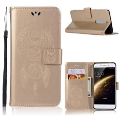 Intricate Embossing Owl Campanula Leather Wallet Case for Nokia 5 Nokia5 - Champagne