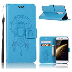 Intricate Embossing Owl Campanula Leather Wallet Case for Nokia 5 Nokia5 - Blue