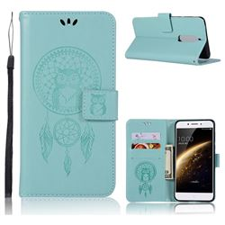 Intricate Embossing Owl Campanula Leather Wallet Case for Nokia 5 Nokia5 - Green