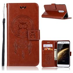 Intricate Embossing Owl Campanula Leather Wallet Case for Nokia 5 Nokia5 - Brown