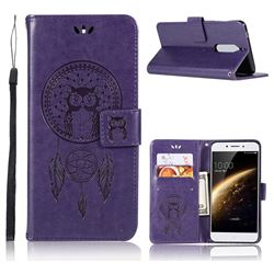 Intricate Embossing Owl Campanula Leather Wallet Case for Nokia 5 Nokia5 - Purple