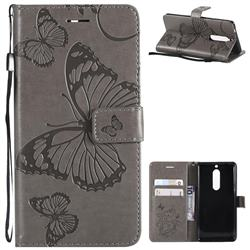 Embossing 3D Butterfly Leather Wallet Case for Nokia 5 Nokia5 - Gray