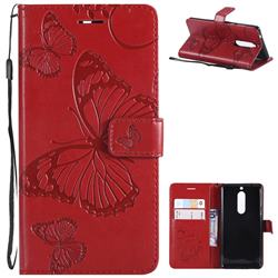 Embossing 3D Butterfly Leather Wallet Case for Nokia 5 Nokia5 - Red