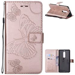 Embossing 3D Butterfly Leather Wallet Case for Nokia 5 Nokia5 - Rose Gold