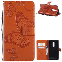 Embossing 3D Butterfly Leather Wallet Case for Nokia 5 Nokia5 - Orange