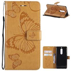 Embossing 3D Butterfly Leather Wallet Case for Nokia 5 Nokia5 - Yellow
