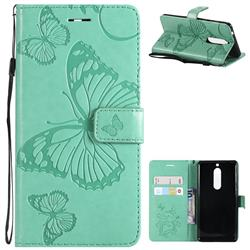 Embossing 3D Butterfly Leather Wallet Case for Nokia 5 Nokia5 - Green