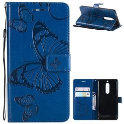 Embossing 3D Butterfly Leather Wallet Case for Nokia 5 Nokia5 - Blue