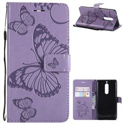 Embossing 3D Butterfly Leather Wallet Case for Nokia 5 Nokia5 - Purple