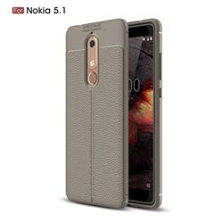 Luxury Auto Focus Litchi Texture Silicone TPU Back Cover for Nokia 5.1 - Gray