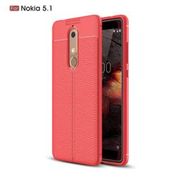 Luxury Auto Focus Litchi Texture Silicone TPU Back Cover for Nokia 5.1 - Red