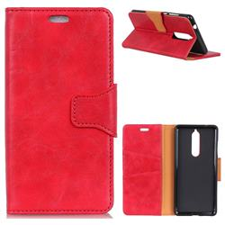 MURREN Luxury Crazy Horse PU Leather Wallet Phone Case for Nokia 5.1 - Red