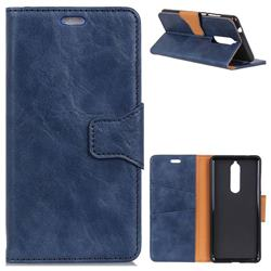 MURREN Luxury Crazy Horse PU Leather Wallet Phone Case for Nokia 5.1 - Blue
