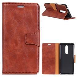 MURREN Luxury Crazy Horse PU Leather Wallet Phone Case for Nokia 5.1 - Brown