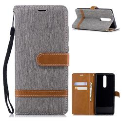 Jeans Cowboy Denim Leather Wallet Case for Nokia 5.1 - Gray