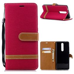 Jeans Cowboy Denim Leather Wallet Case for Nokia 5.1 - Red