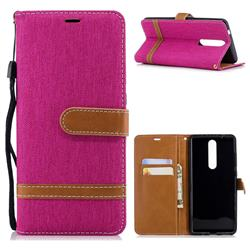 Jeans Cowboy Denim Leather Wallet Case for Nokia 5.1 - Rose