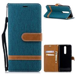 Jeans Cowboy Denim Leather Wallet Case for Nokia 5.1 - Green